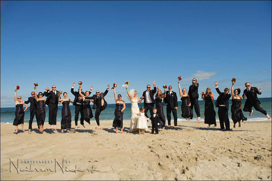 NJ wedding photography bridal party beach