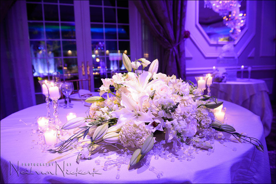 Rockleigh Country Club ballroom sweetheart's table bouquet