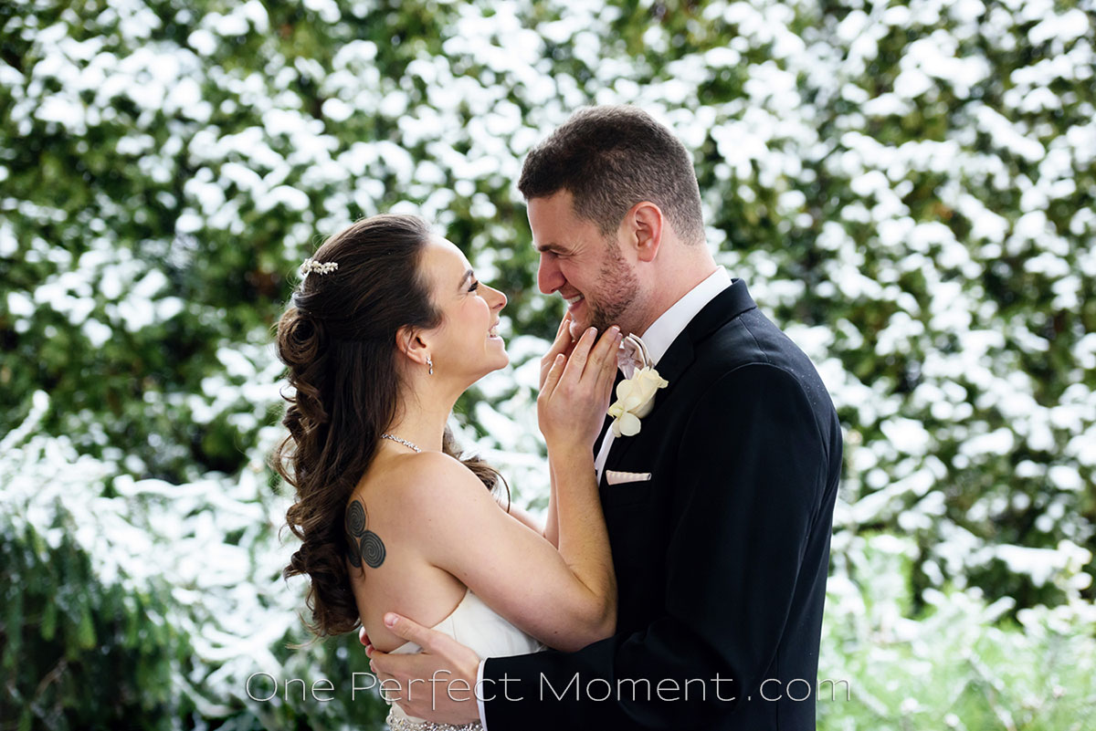 Crystal Plaza winter wedding in show NJ photographer