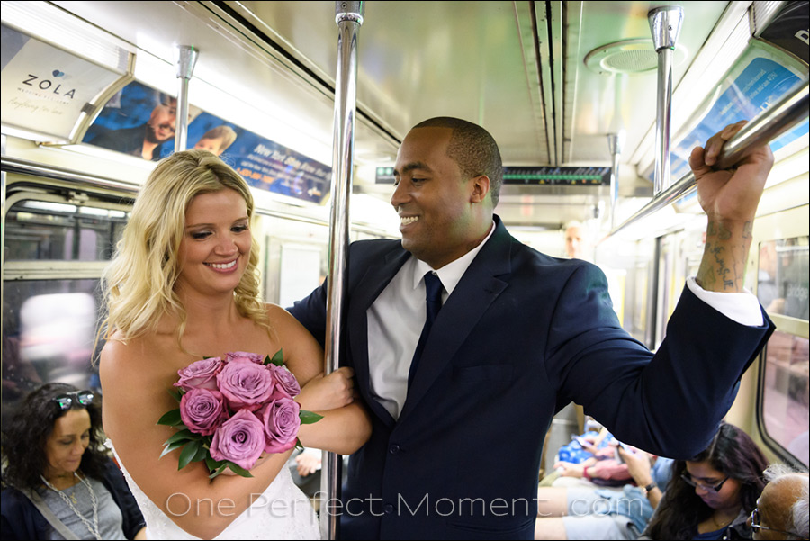 elopement wedding New York subway ride